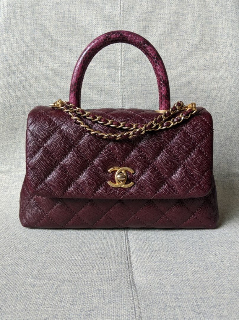 07f58028c0a9 Chanel Coco Handle Bag Mini in Burgundy Caviar Snakeskin Handle ...