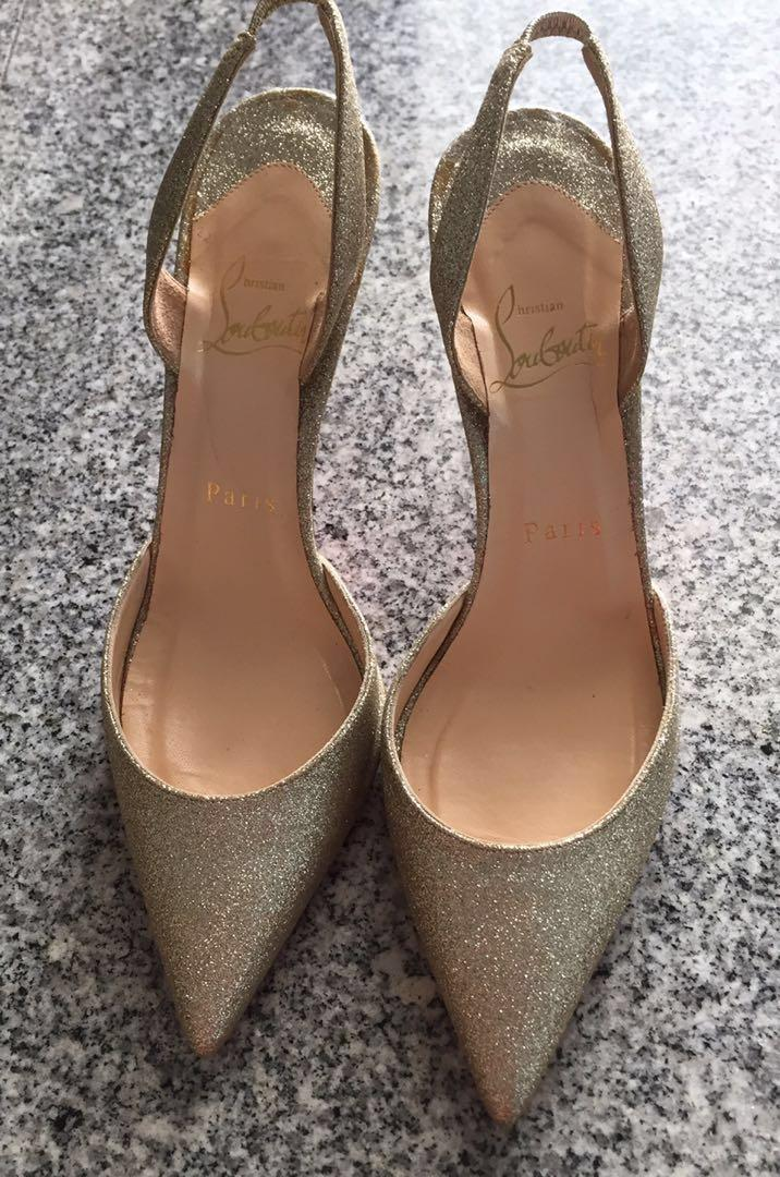 6189b6a532c Christian louboutin gold glitter heels shoes size 37, Luxury, Shoes ...