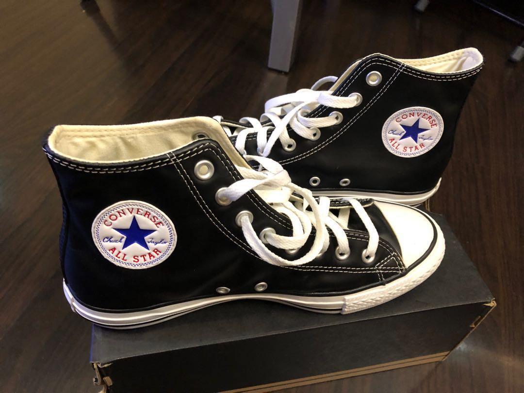 全新高筒黑色皮Converse