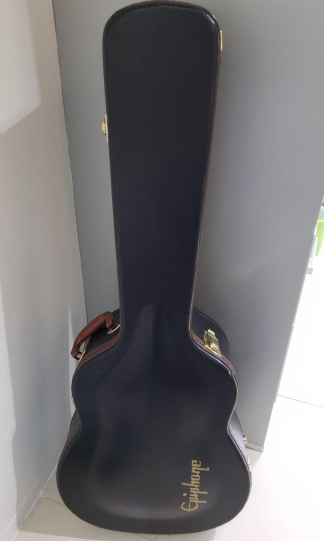 Epiphone Black Hard Case with Brown Leather Rim and Gold Locks