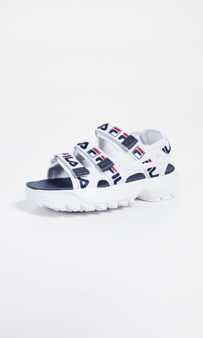 a54432a83861 Fila Ladies White Navy Red Disruptor Logo Sandals