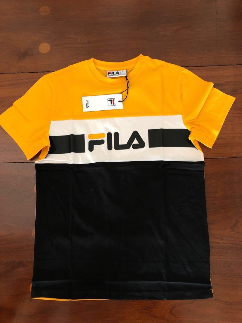 269ad8b0ce Fila Mick Tee Yellow/Red Size S, Men's Fashion, Clothes, Tops on ...