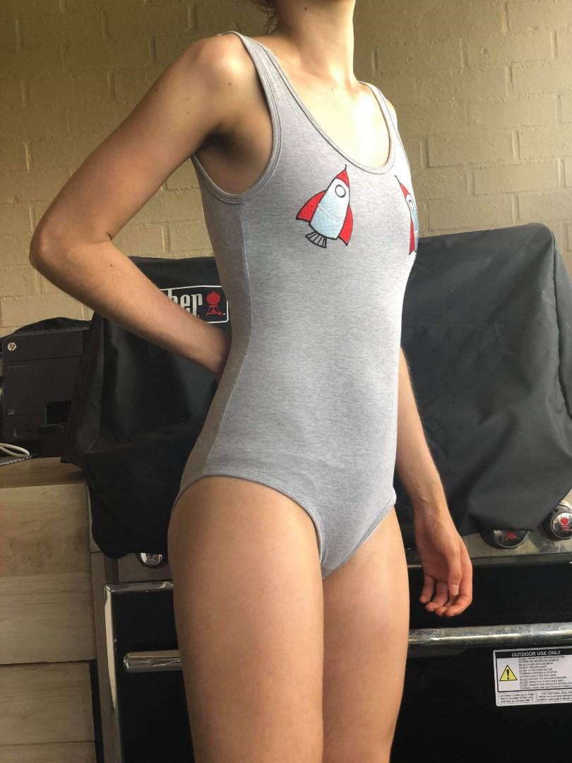 Glassons grey bodysuit with sewn-on rocket chest detail
