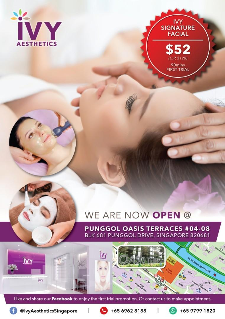 Facial at Punggol - First Trial Signature Facial $52 / H2O Spa Facial $38