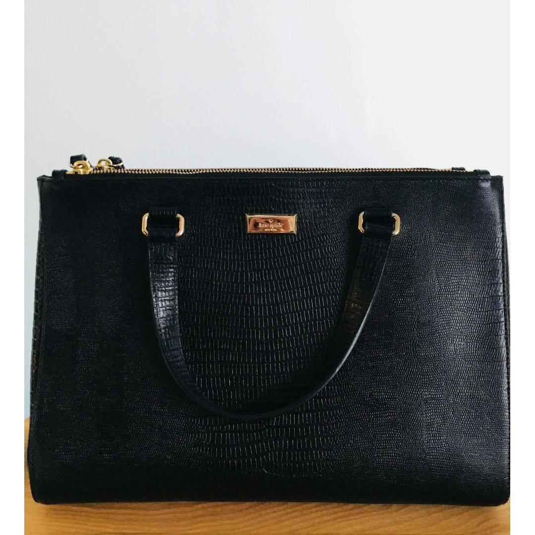 Kate Spade Bristol Drive Loden Lizard Embossed Tote Bag - Black (Original Price was over $300)