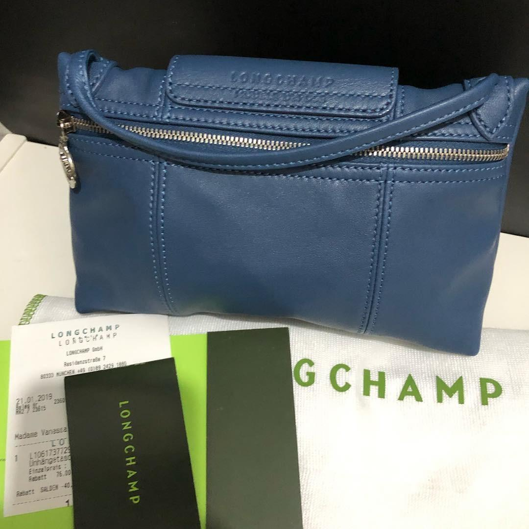 LC Cuir Crossbody sz 23x16 Pilot Blue (with tag, Paperbag and receipt)