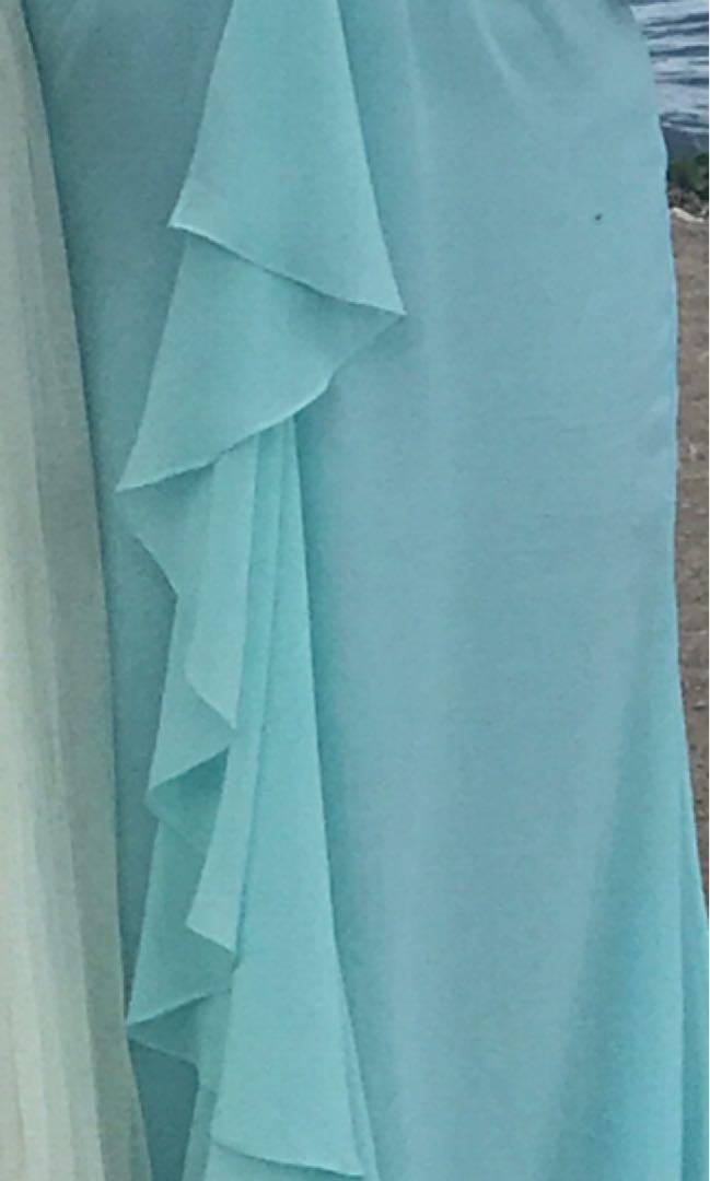 Light blue turquoise aqua chiffon gown bridesmaid