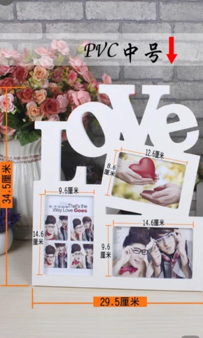 Love photo frame wedding couple item deco