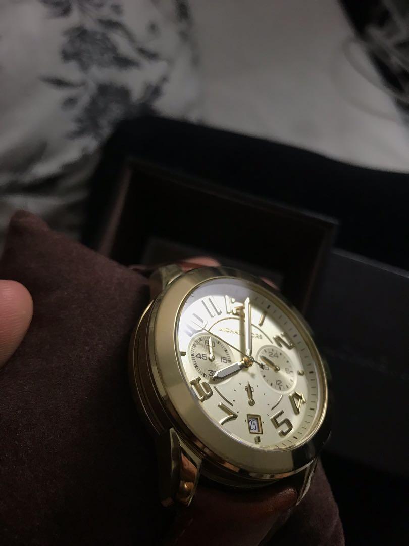 Michael Kors Mercer Gold tan leather watch
