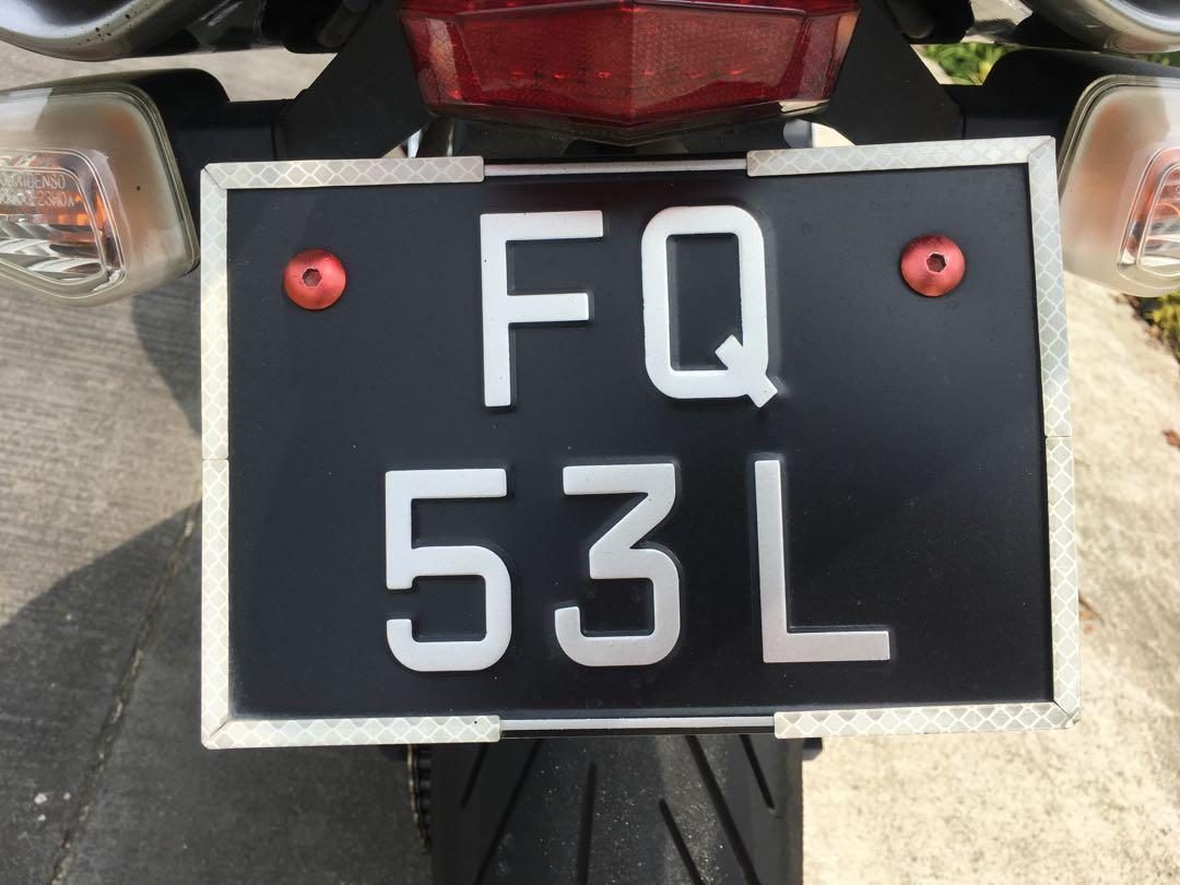 Motorcycle number plate FQ 53 L
