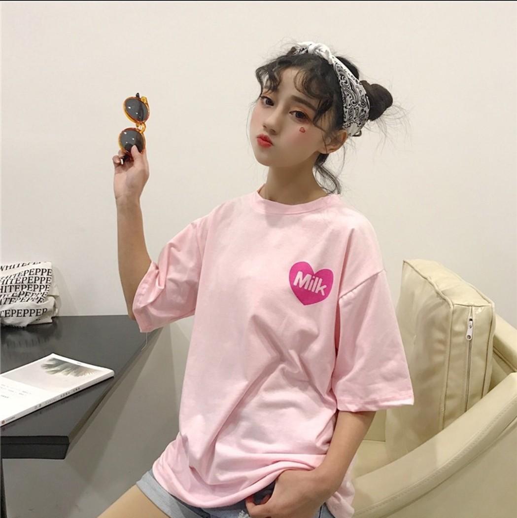 [PO] Pink Ulzzang Milk T-shirt