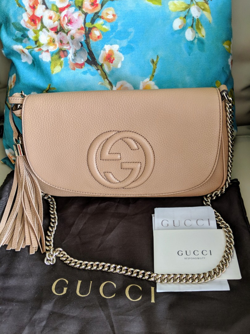 dfd2a9abb27 Receipt) Authentic GUCCI Soho Camelia Rose Beige Leather Sling or ...
