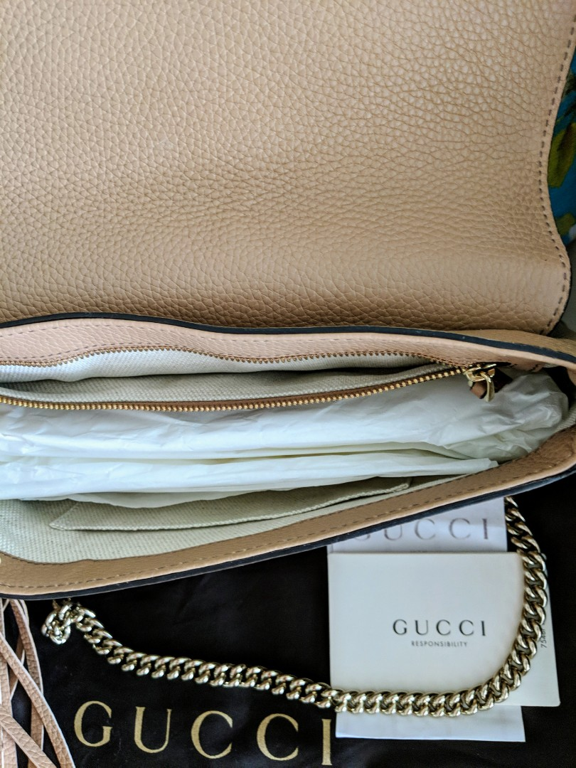 d4310a69e29 (Receipt) Authentic GUCCI Soho Camelia Rose Beige Leather Sling or Shoulder  bag