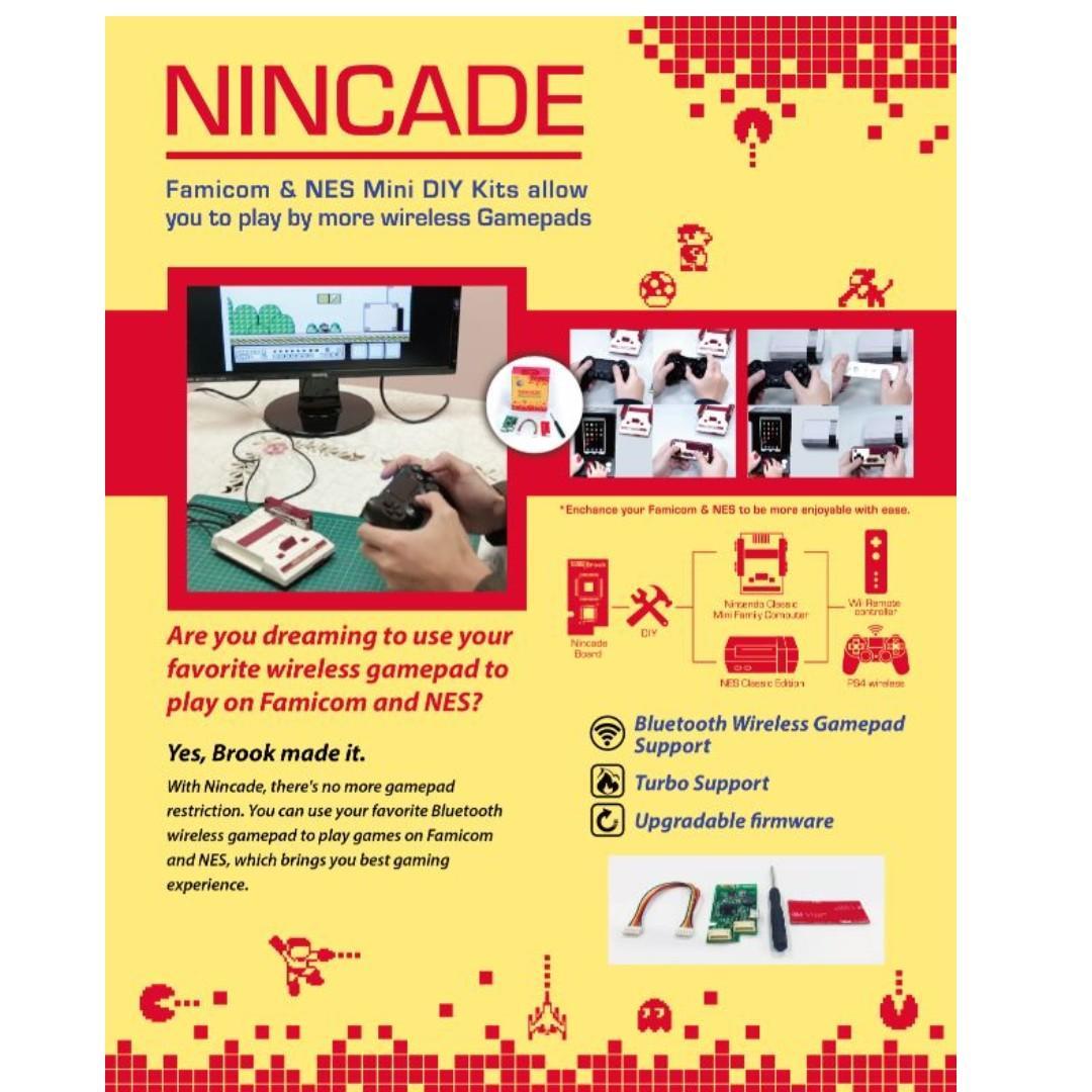 SG Seller Brook Design - NINCADE Wireless Control PCBA KIT for NES Classic or Famicom Mini