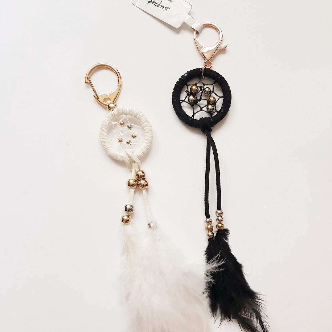 Supre Black and White Feather Dream Catcher Key Ring Chain Charms