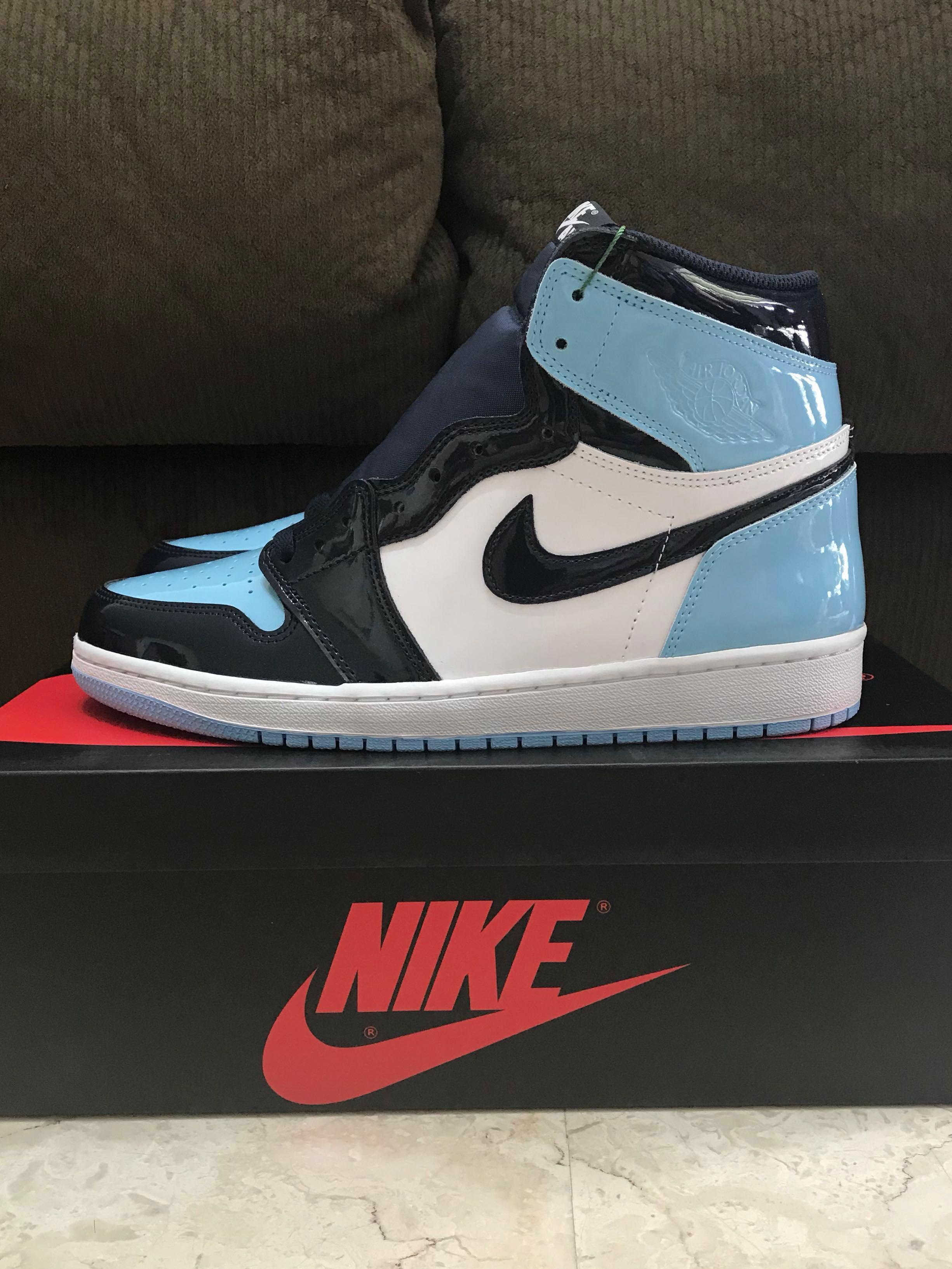 sports shoes 09f3c 4f670 US 10 Nike Air Jordan 1 UNC Patent (W) Blue Chill