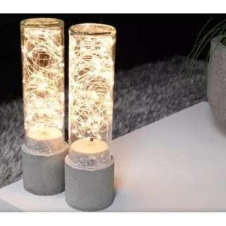 Concrete Lamp and Cylindrical Glass Jar with LED string