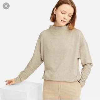 uniqlo soft knitted fleece high neck top beige