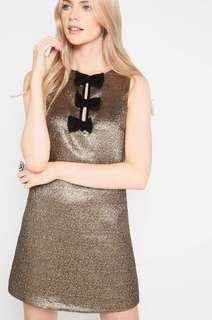 Miss Selfridge Gold Bow Dress