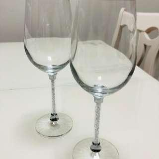 全新水晶杯一對 a pair of all new crystal glasses