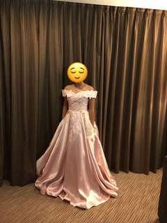 Pastel Pink Off Shoulder Gown for rent