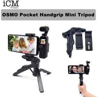🚚 Osmo Pocket Tripod Mount Handgrip Mount Bracket with Phone Clip Holder