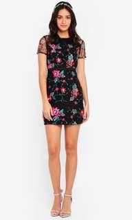 Black Floral Dress with mesh