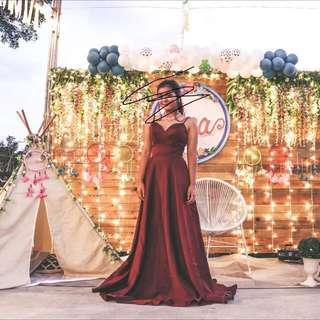 Apartment 8 Te Amo (maroon) gown for rent