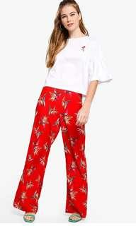 Flare high waisted floral red pants