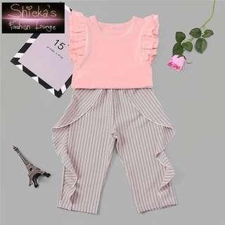 Girls 2 Piece Set Ruffle Top and Ruffle Stripe Pants