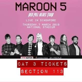 CAT 3 Maroon 5 ticket for Red Pill Blues Concert Tour