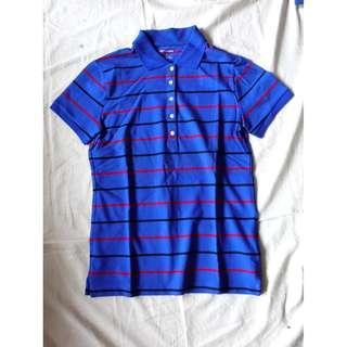 品牌NET寶藍色橫條條紋線條短袖POLO衫美式休閒服舒適基本款翻領POLO衫上衣棉質POLO上衣