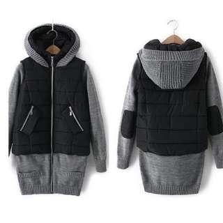 🚚 全新 假兩件式 異材質拼接上長版上衣外套