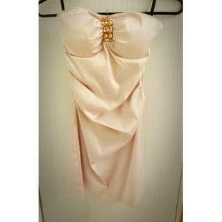🚚 正品 Momoco 香檳粉平口海咪咪抓皺小洋裝