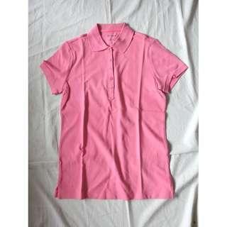 品牌NET粉膚色粉紅色純色單色素色短袖POLO衫美式休閒服舒適基本款翻領POLO衫上衣棉質POLO上衣