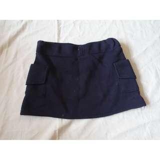 深藍色素面素色雙口袋短裙A字裙裙子膝上裙