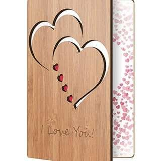 I Love You Card Handmade With Real Bamboo Wood