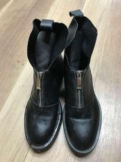 Zara Leather Ankle Boots Size 36