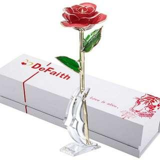 DeFaith Real Rose 24K Gold Dipped Forever Gifts For Her Valentine's Day
