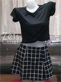 Twisted Crop Top + FOREVER21 Checkered Skirt