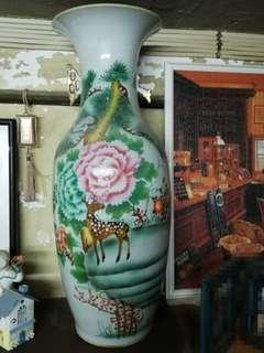 民國 刷花 大花瓶