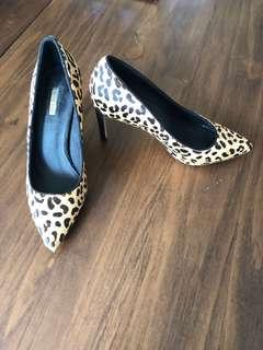 ALIAS MAE Leopard print leather midi heels AU6
