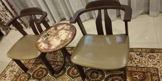 2 Vintage Solid Wood Chairs + Table