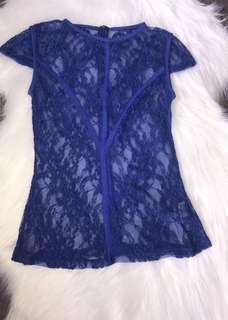Fresh Soul Blue Lace Top