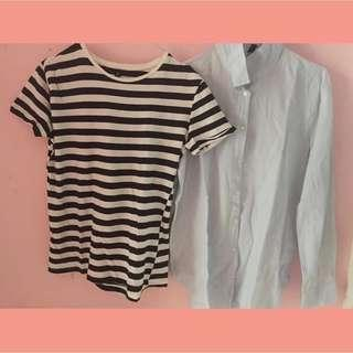 Stripe tee t-shirt & stripe blue shirt