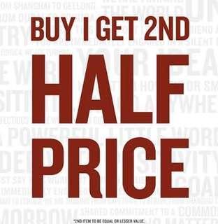 Buy 1 item get 2nd item 50% off