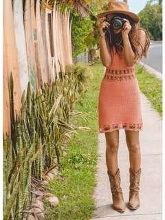Arnhem crochet coral dress