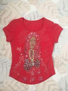 Red Top with Sequin Design