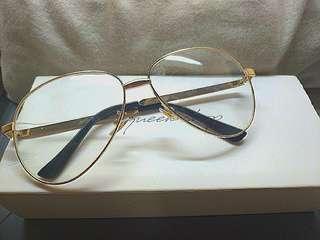 🚚 Queen shop 金框眼鏡 大框 眼鏡框 鏡框 復古