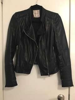 Zara Trafaluc Leather Jacket | Black, XS
